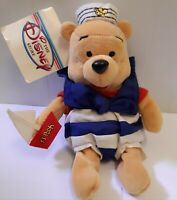 Disney Store Winnie the Pooh Bear NAUTICAL Sailor Plush stuffed toy 8 inches