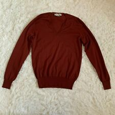 Yves Saint Laurent YSL Womens Size Small V-Neck 100% Virgin Wool Sweater Red