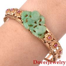 Antique Carved Jade Ruby 14K Gold Floral Eternity Bangle Bracelet 25.6 Grams NR