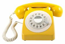 GPO 746 Mustard Yellow Retro Vintage Style Desk Phone with Working Rotary Dial