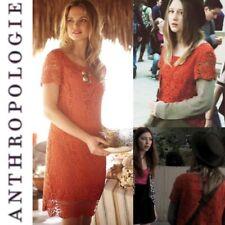 Anthropologie Moulinette Soeurs 'Horkelia' Orange Cotton Lace Shift Dress Size 6