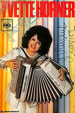 YVETTE HORNER PHOTO FORMAT CARTE DISQUES CBS DEDICACE ACCORDEON