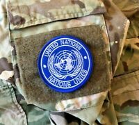 Genuine United Nations Patch UN Hook Loop Badge approx 8cm dia Military Combat