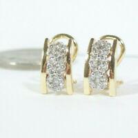 1.10ct Round Cut Diamond Omega back Earrings For Women's 18k Yellow Gold Finish