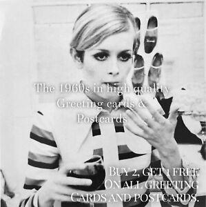 68. Twiggy Takes A Break 1967. 1960s Quality Greeting Card. Fashion Model