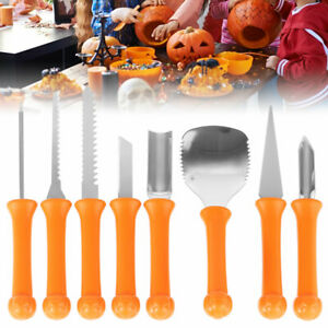 8x Halloween Pumpkin Carving Kit Stainless Steel Pumpkin Carving Tools Storage;