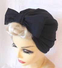 VINTAGE INSPIRED 1940's 1950's STYLE  BLACK TURBAN HAT