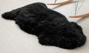 Genuine  ICELANDIC Sheepskin Black Rug Black Fur Single Pelt Throw for Floor