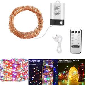 LED USB Copper Wire Strip String Fairy Light Wedding Xmas Home Decor W/ Remote