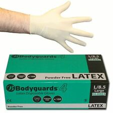 10 x Boxes of 100 Bodyguard 4 Latex Powder Free Disposable Gloves S M L XL 1000