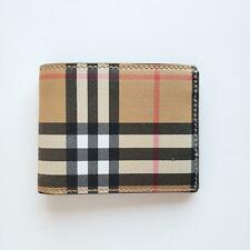 Burberry Tartan Check Canvas and Leather Men's Bi-Fold Slim Wallet Beige | $330