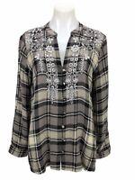 Soft Surroundings Women's Top Plaid Embellished Tunic Shirt Long Sleeve Size M