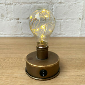 Industrial Freetanding Bedside Table Desk LED Fairy Light Bulb Lamp Decoration