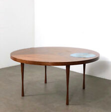 Vintage Walnut Enamel Inlaid Round Coffee Table Rare Mid Century Danish Modern