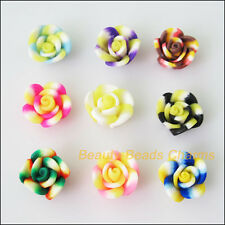 10Pcs Mixed Polymer Fimo Clay Colored Flower Beads Charms 12mm