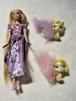 Disney Tangled Lot ~ Rapunzel Doll with Palace Pets Kitty Summer & Puppy Daisy