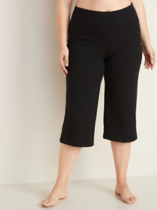 Old Navy Women's Size 2XL Black High-Waist Wide Leg Capri Style Yoga NWT (2/2)