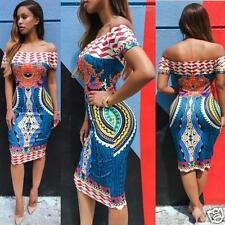 Women's Traditional African Print Dashiki Bodycon Sexy Short Sleeve Slim Dress