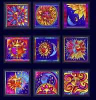 Laurel Burch Celestial Magic Light Navy Clothworks Fabric