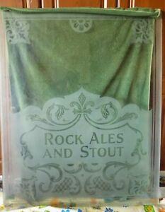 Vintage acid etched decorative pub glass panel Rock Ales.