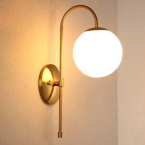 Minimal Single White Glass Ball LED Gold Metal Linear Porch Wall Lights Sconces