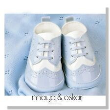 BABY BOYS BLUE PATENT PRAM SHOES CHRISTENING BAPTISM SMART FORMAL PARTY 3-18m
