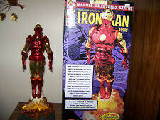 MARVEL MILESTONES RED & GOLD CHROME IRON MAN STATUE  - AVENGERS w/ SIGNED PHOTO