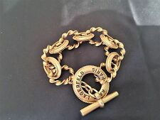 100 % AUTHENTIC KARL LAGERFELD VINTAGE GOLD TONE METAL BRACELET W/KL LOGO MINT