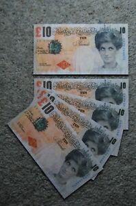FIVE BANKSY DI FACED TENNERS £10 TEN POUND PRINCESS DIANA REPLICA NOTES