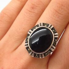 925 Sterling Silver Real Black Onyx & Marcasite Gem Ring Size 7 1/4
