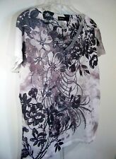 Appropriate Behavior L Black Grey Floral Print Pullover Top Misses Womens