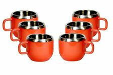 Stainless steel double wall set of 6 Red Warm cups