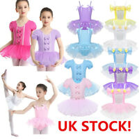 UK Girls Ballet Dance Dress Tutu Skirt Gymnastics Leotard Ballerina Dancewear