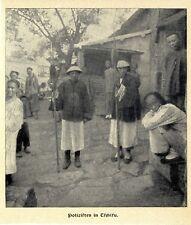 China chinesische Polizisten in Tschifu Histor. Memorabilie v.1903