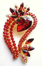 VINTAGE INSPIRED GOLD PLATED LARGE STATEMENT GARNET & RUBY RED RHINESTONE BROOCH