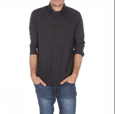 BEN SHERMAN® Spotted Slim Shirt/Bitter Chocolate - Small WAS £65.00