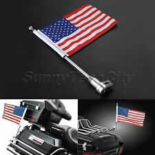 1x Motorcycle Rear US USA American Flag Pole Mount For Honda Golden Wing GL1800