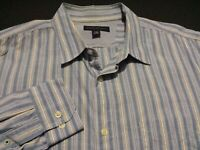 Banana Republic Mens Large Long Sleeve Button-Front Blue Striped Shirt