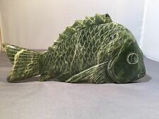 ANTIQUE CHINESE CARVED JADE FISH 8""