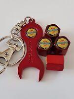 CHRYSLER RED DUST VALVE CAPS & SPANNER/KEYCHAIN FOR ALL MODELS 300 VOYAGER LHS