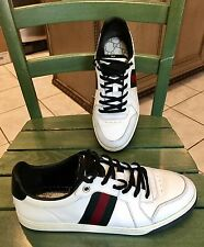 Womens GUCCI White Leather Tennis Shoes Sz 37.5 US 7.5-8 M