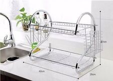 NEW 2 Layers Dish Rack Plated Steel Chrome Cup Drying Tray Utensil Dryer Drainer