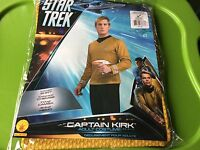 NEW Star Trek Captain Kirk Adult L Costume, Yellow Gold Vintage large Shirt