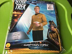 NEW Star Trek Captain Kirk Adult L Costume, Yellow Gold Vintage large Shirt