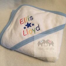 PERSONALISED BABY HOODED TOWEL NAME HEARTS OR STARS NEWBORN HOSPITAL BAG GIFT