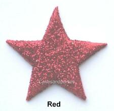 EDIBLE RED GLITTER STARS. CAKE DECORATIONS - LARGE 4cm x 10