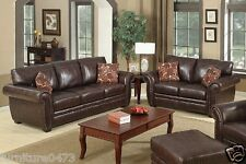 Brown Traditional Leather 3 Seater + 2 Seater Sofa Suite HIGHBURY