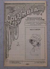 THE COLUMBIA WASHINGTON'S LEADING THEATER PROGRAM 11/06 1911 LULU GLASER