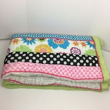 Twin Comforter Pottery Barn Teen Paradise Patchwork Stripes Pink Green Spring