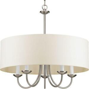 """Progress Lighting 21.625"""" 5-Light Brushed Nickel Chandelier w/Beige Linen Shade"""